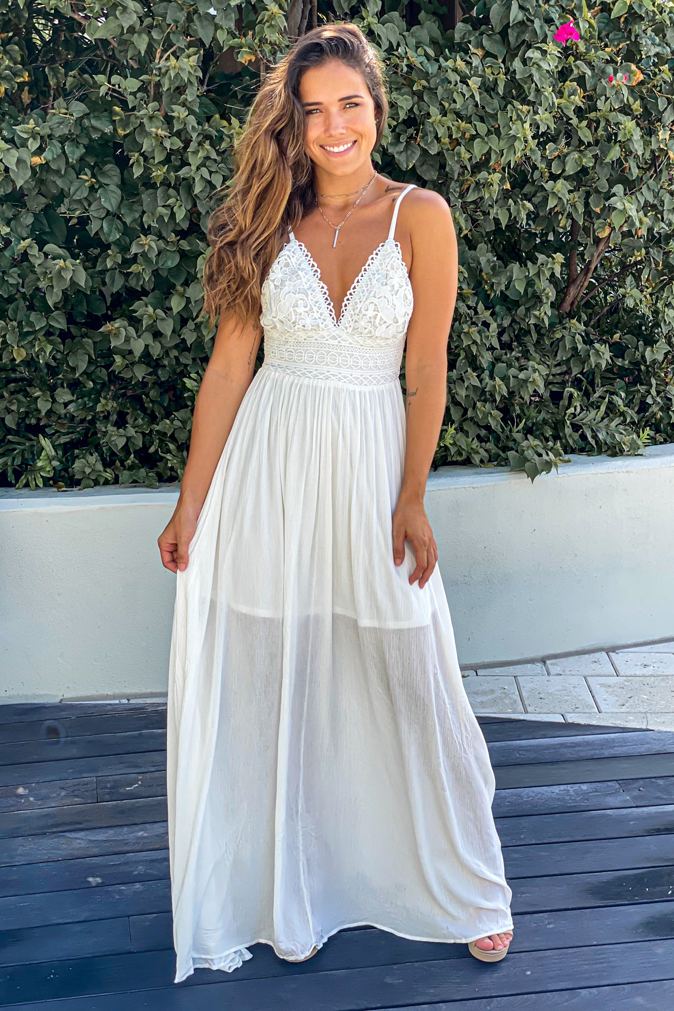 white casual maxi dress