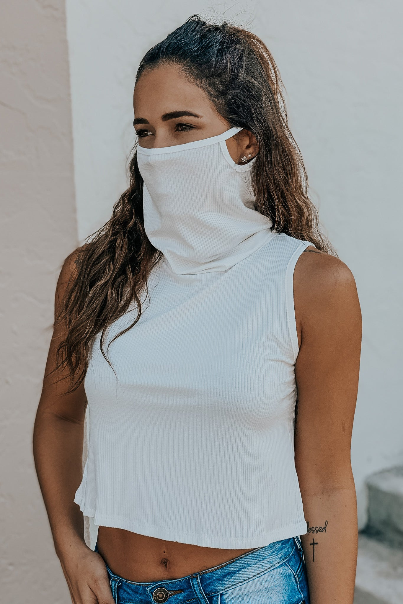 white crop top with face cover