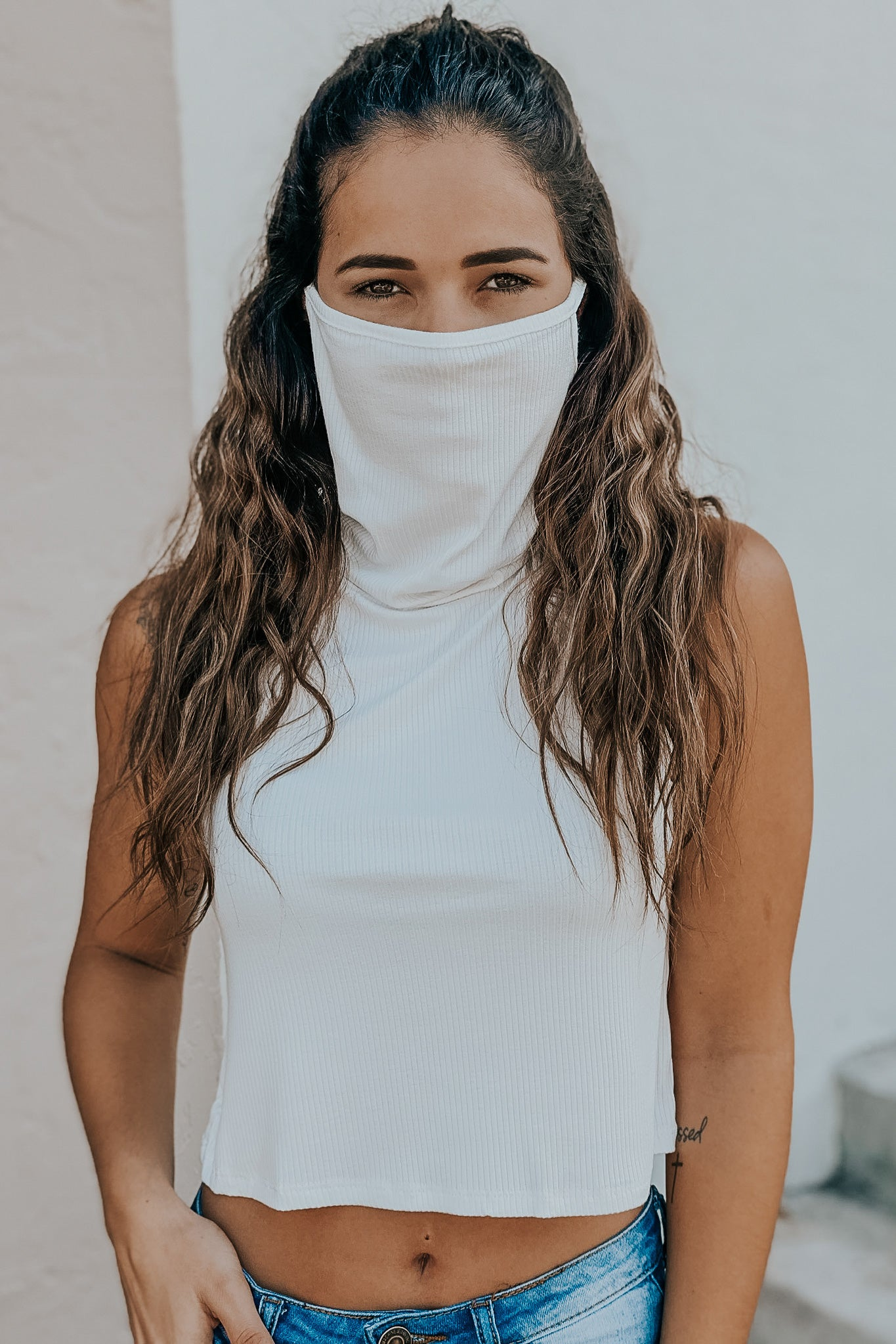 white crop top with face mask