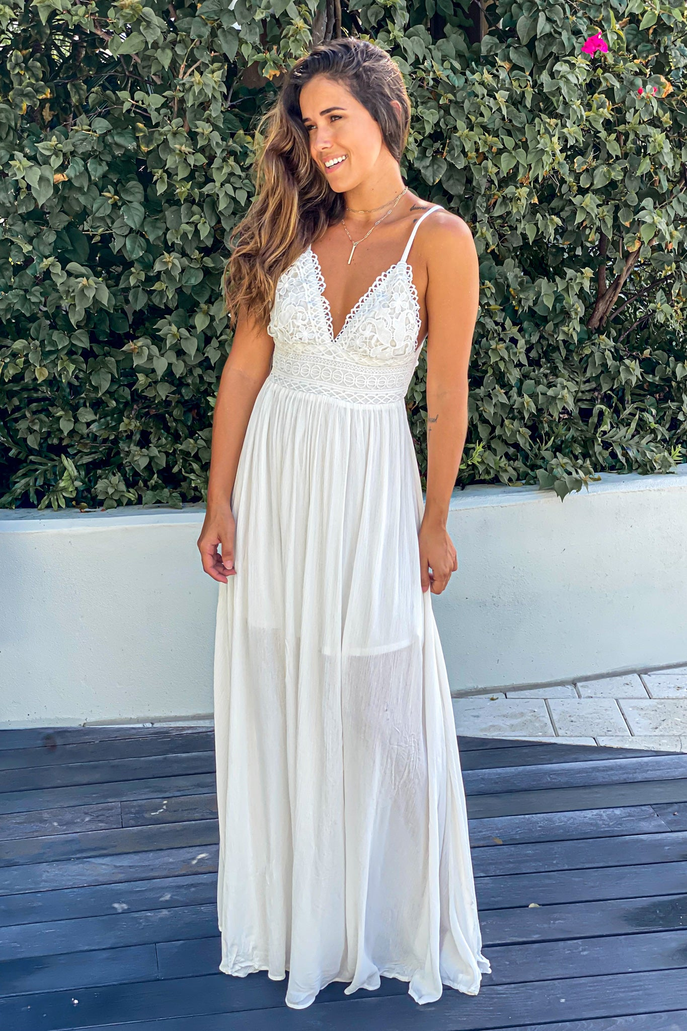 white cute maxi dress