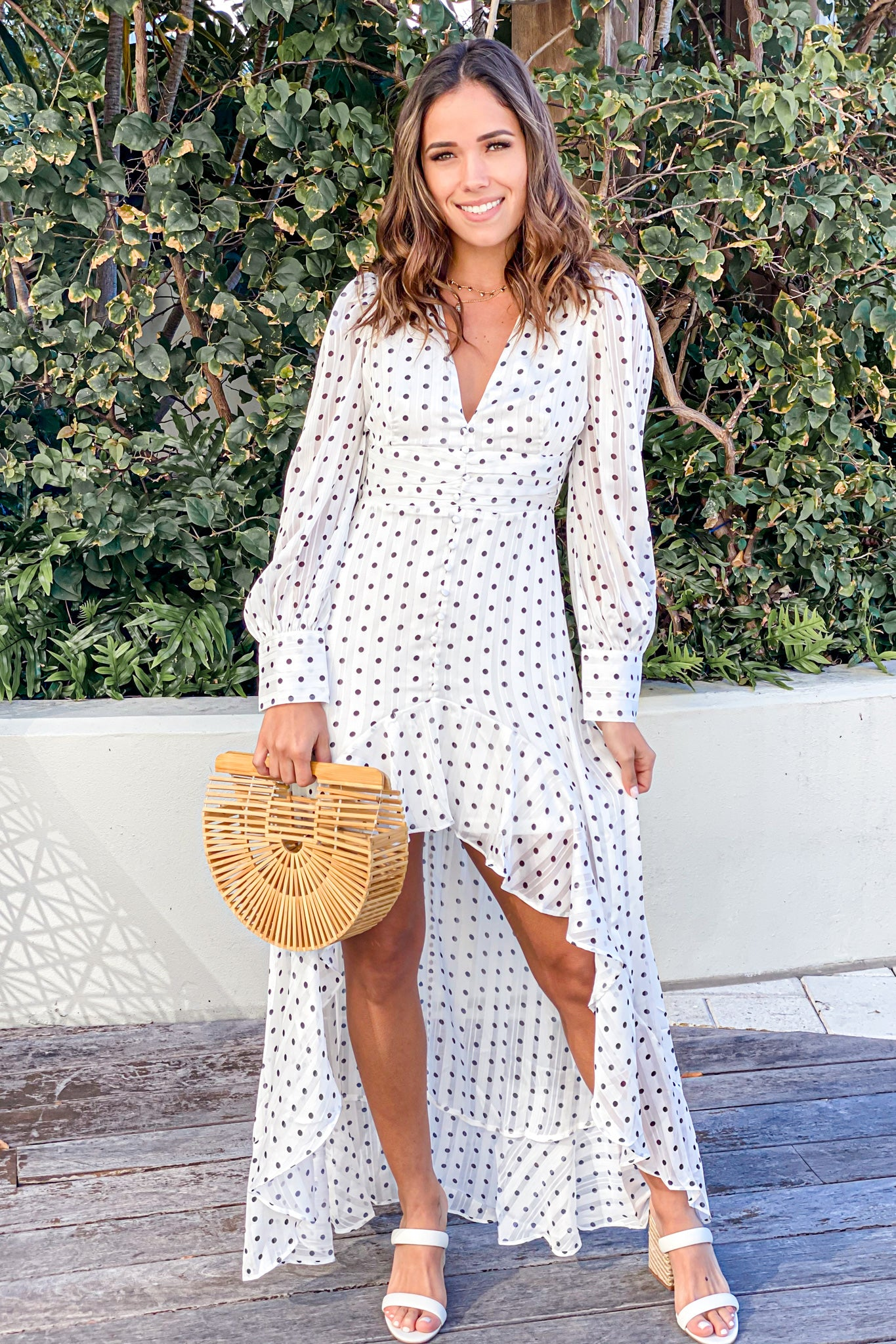 white cute polka dot dress