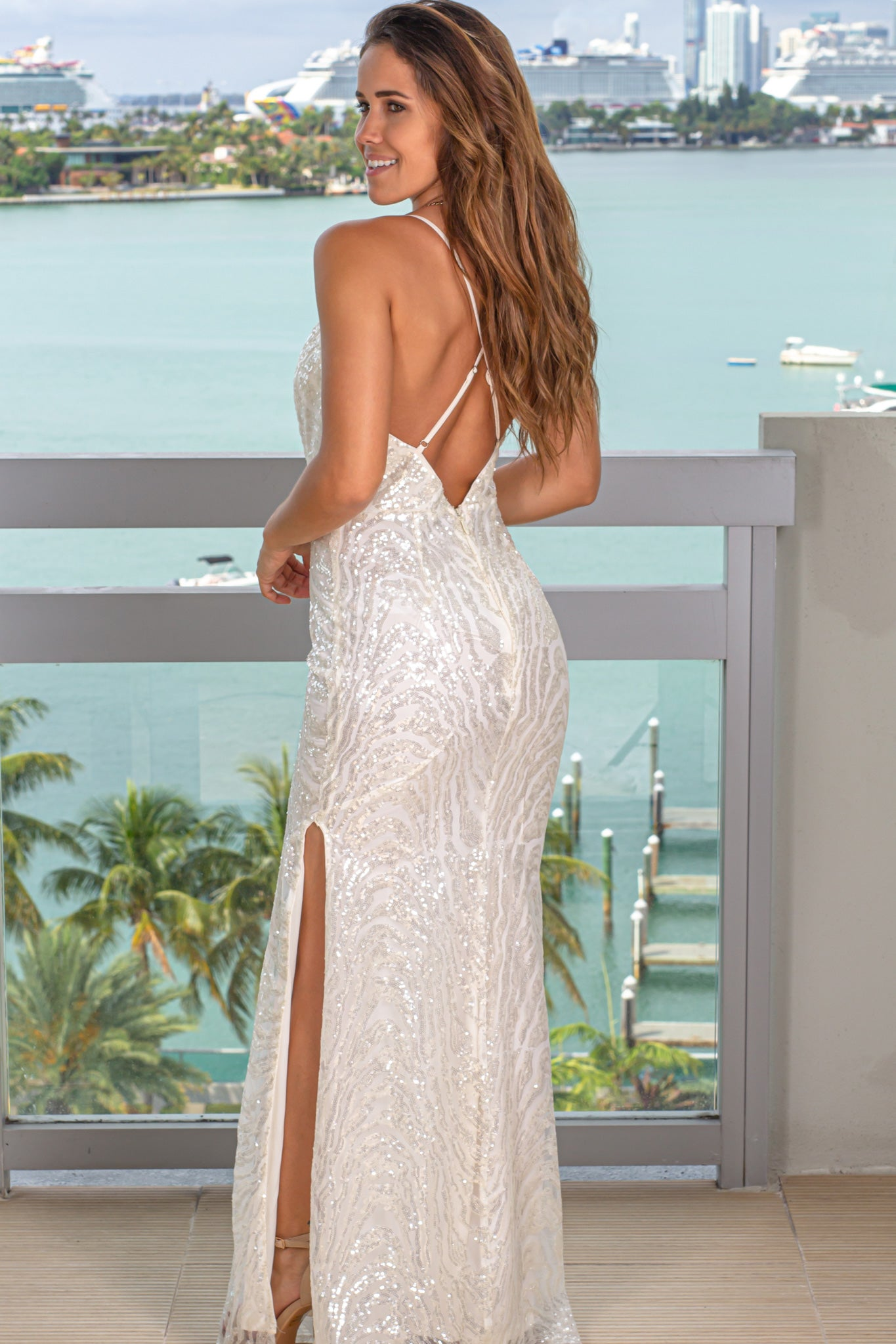 white formal maxi dress with slit