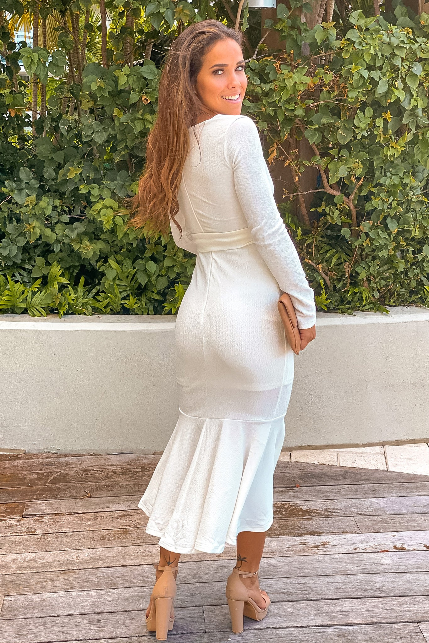white formal midi dress
