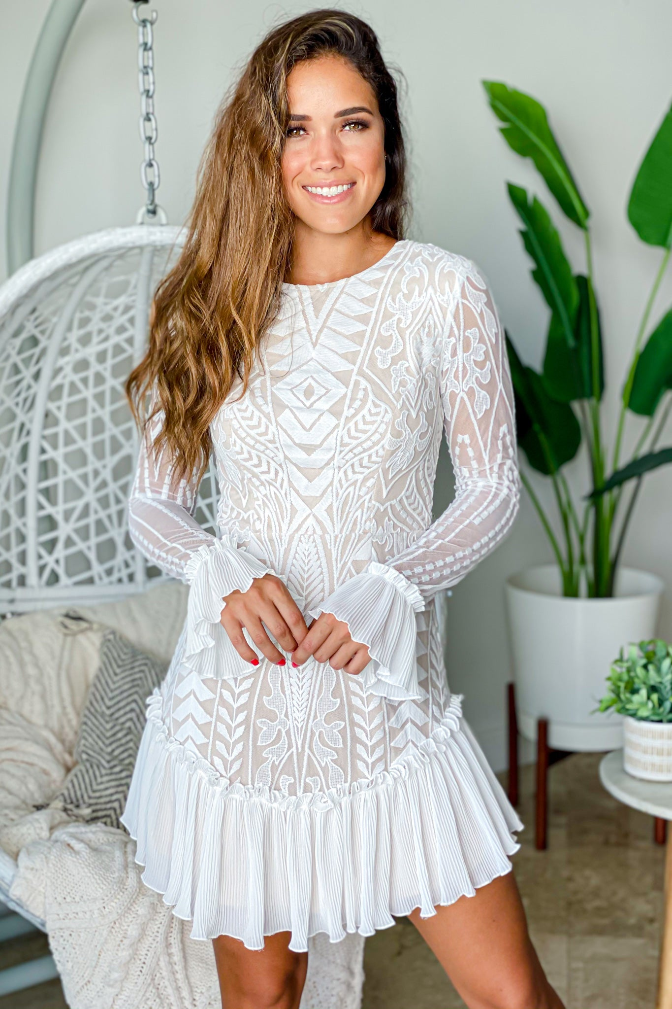 white formal short dress