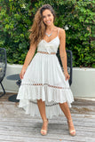 white high low dress with tie front