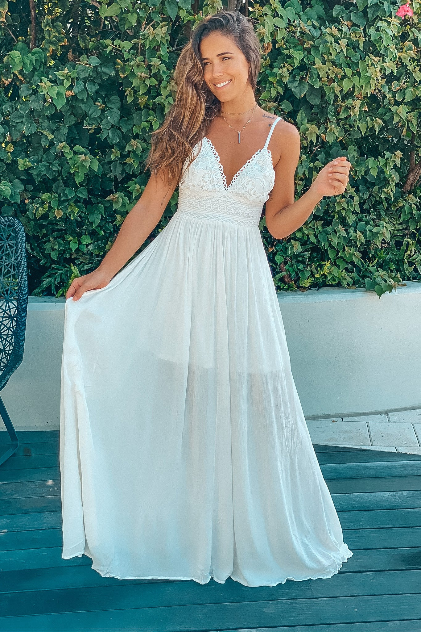 white maxi dress with tie back
