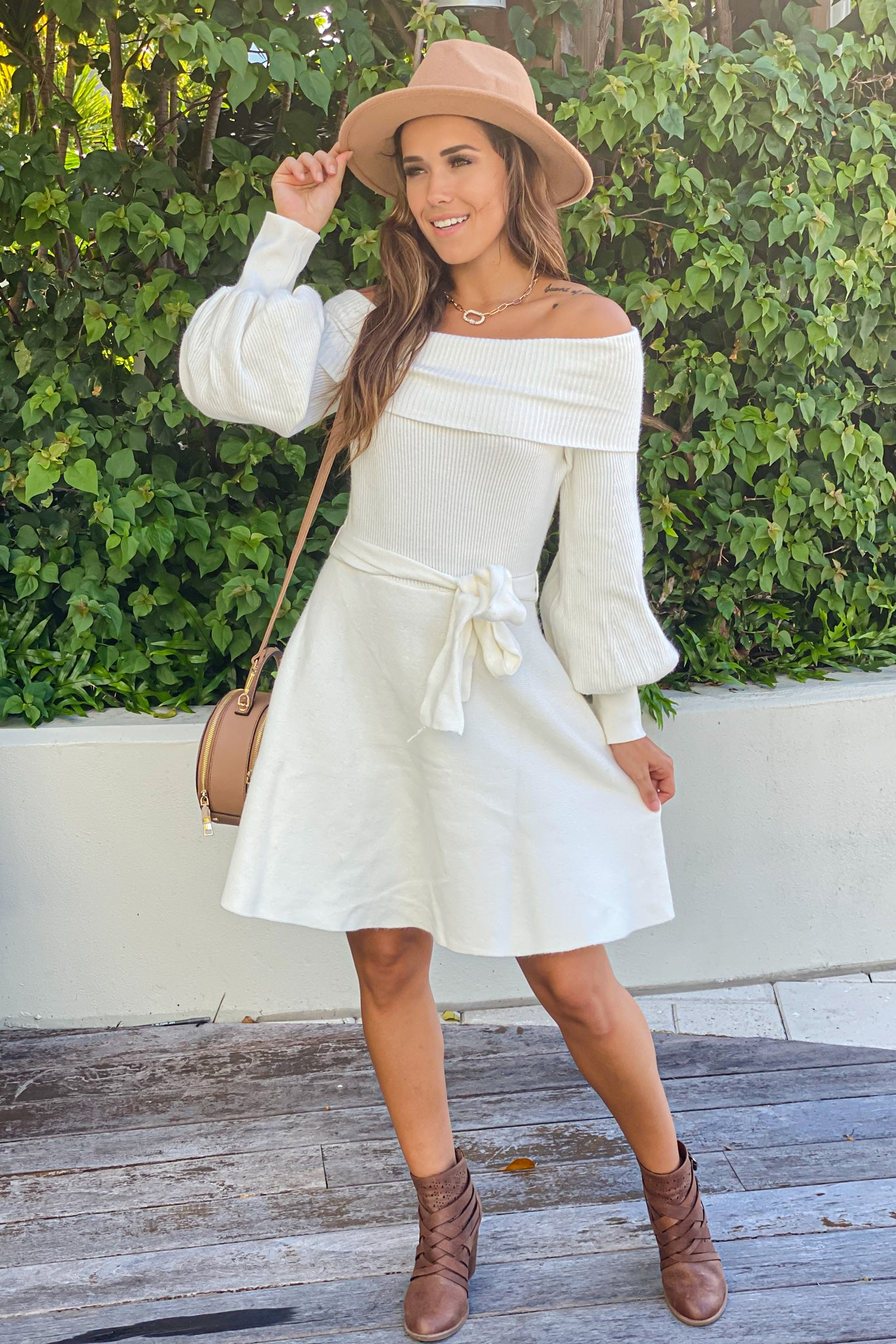 white off shoulder casual short dress