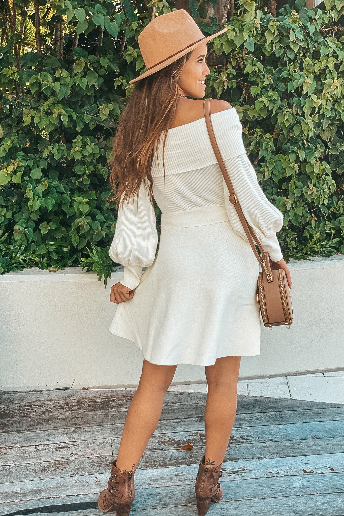 white off shoulder cute dress
