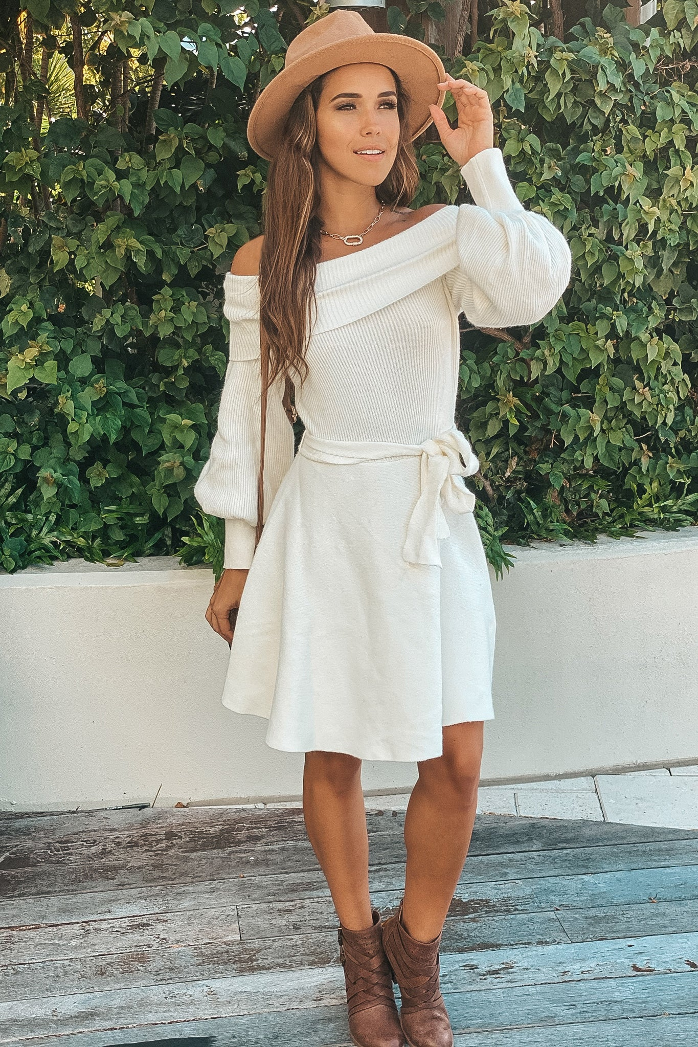 white off shoulder sweater short dress