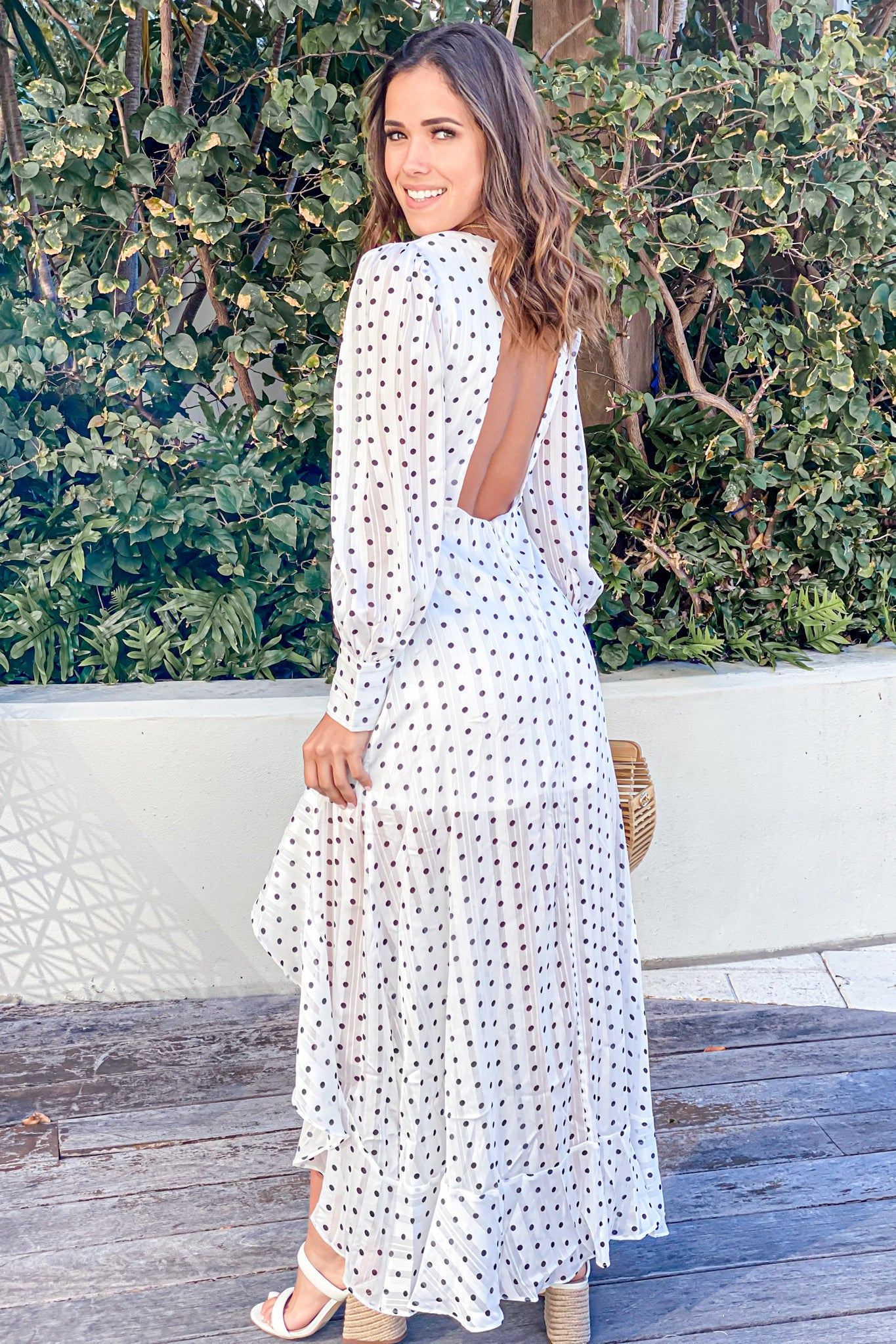 white open back high low dresss