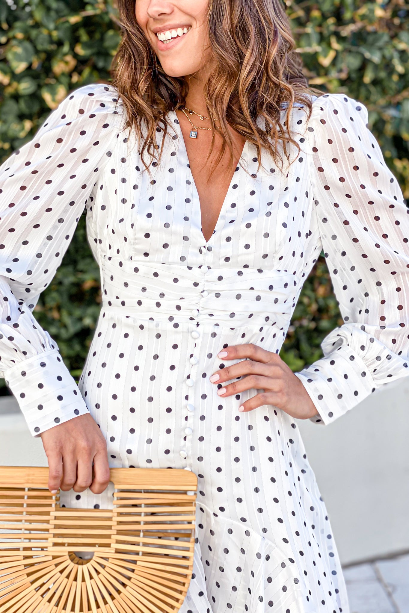 white polka dot high low dress