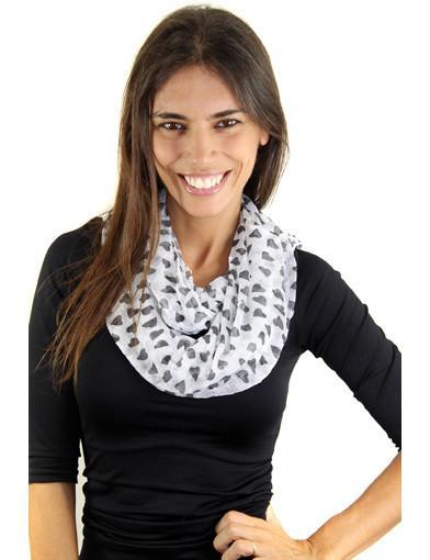 white printed heart scarf