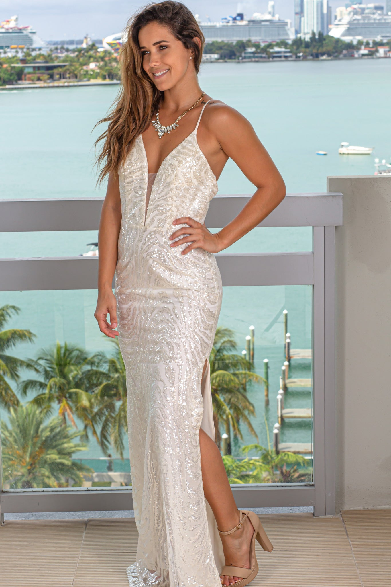 white prom maxi dress with sequins