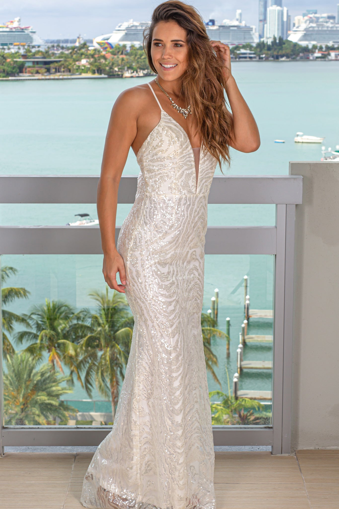 white sequin maxi dress