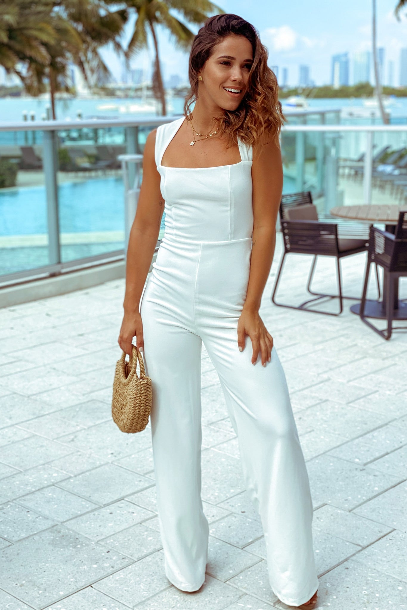 white square neck jumpsuit