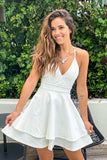 white tiered short dress with lace back