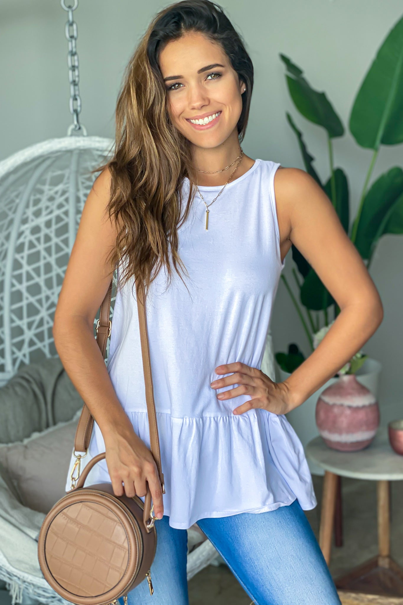 white top with button details