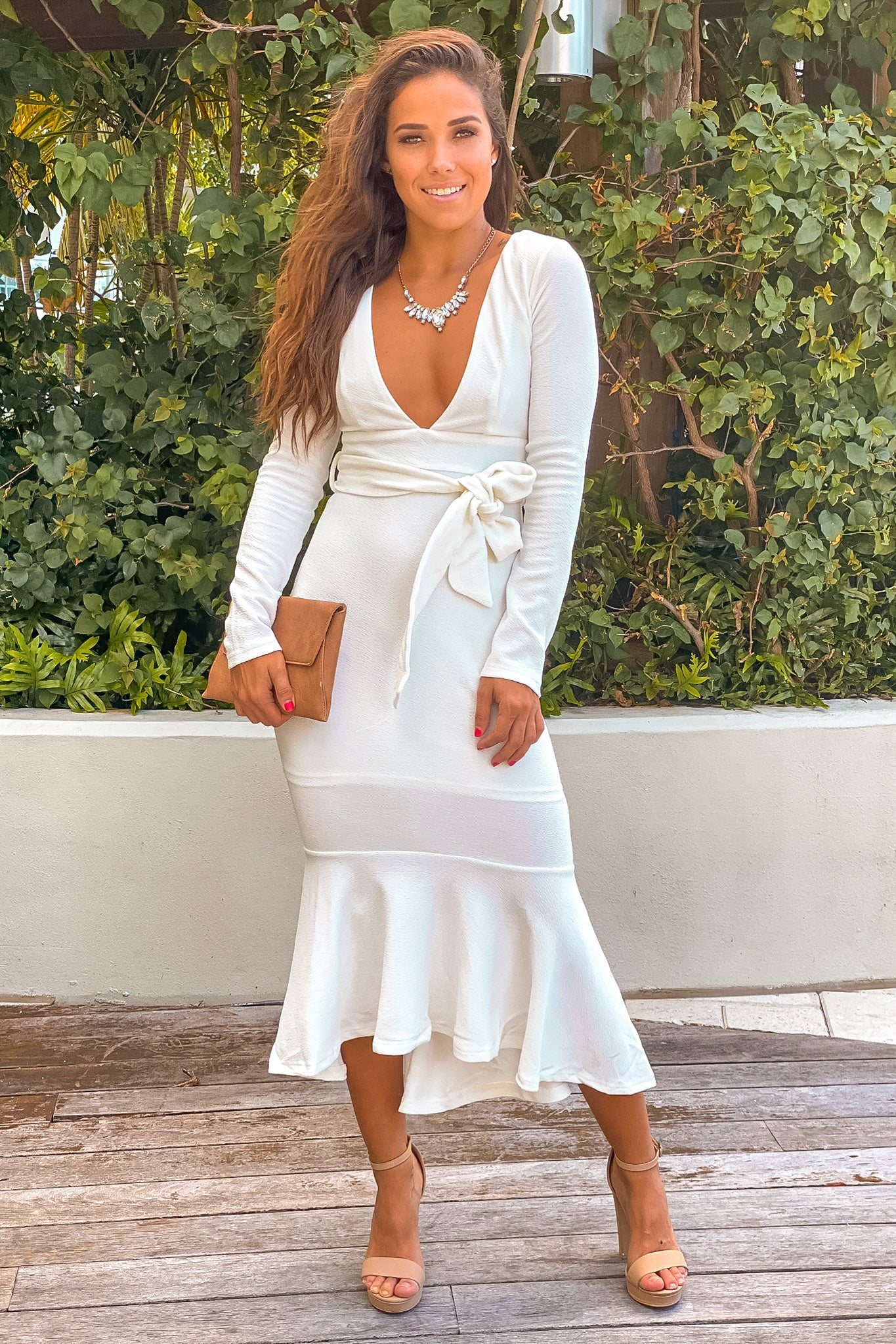 white v-neck ruffled midi dress