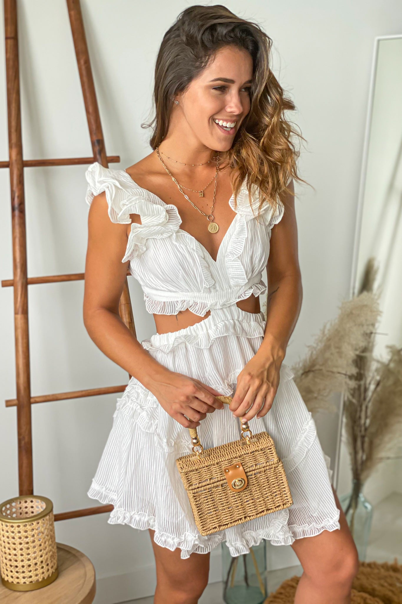 white vacation short dress