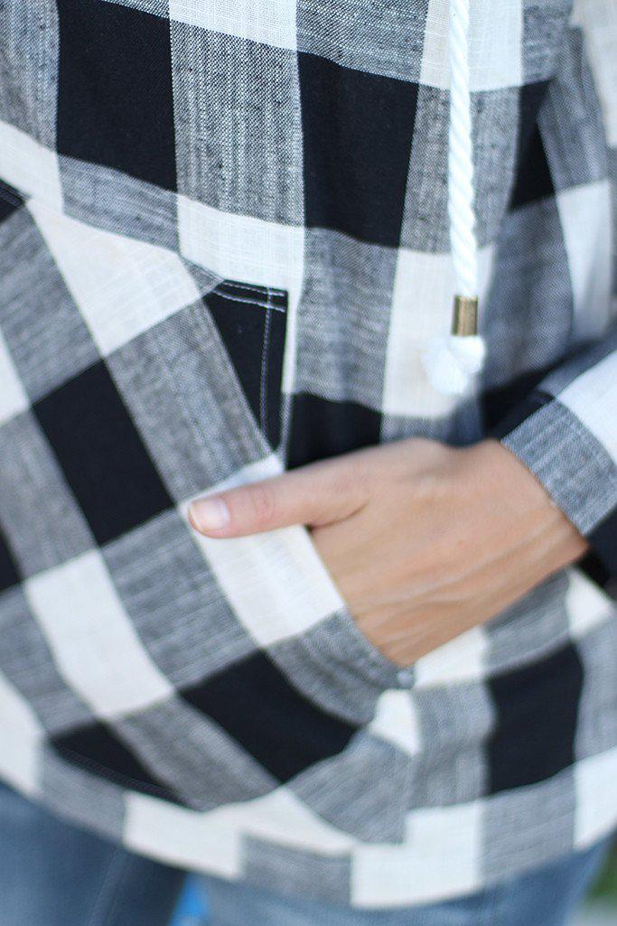 Black And White Plaid Hoodie With Pocket