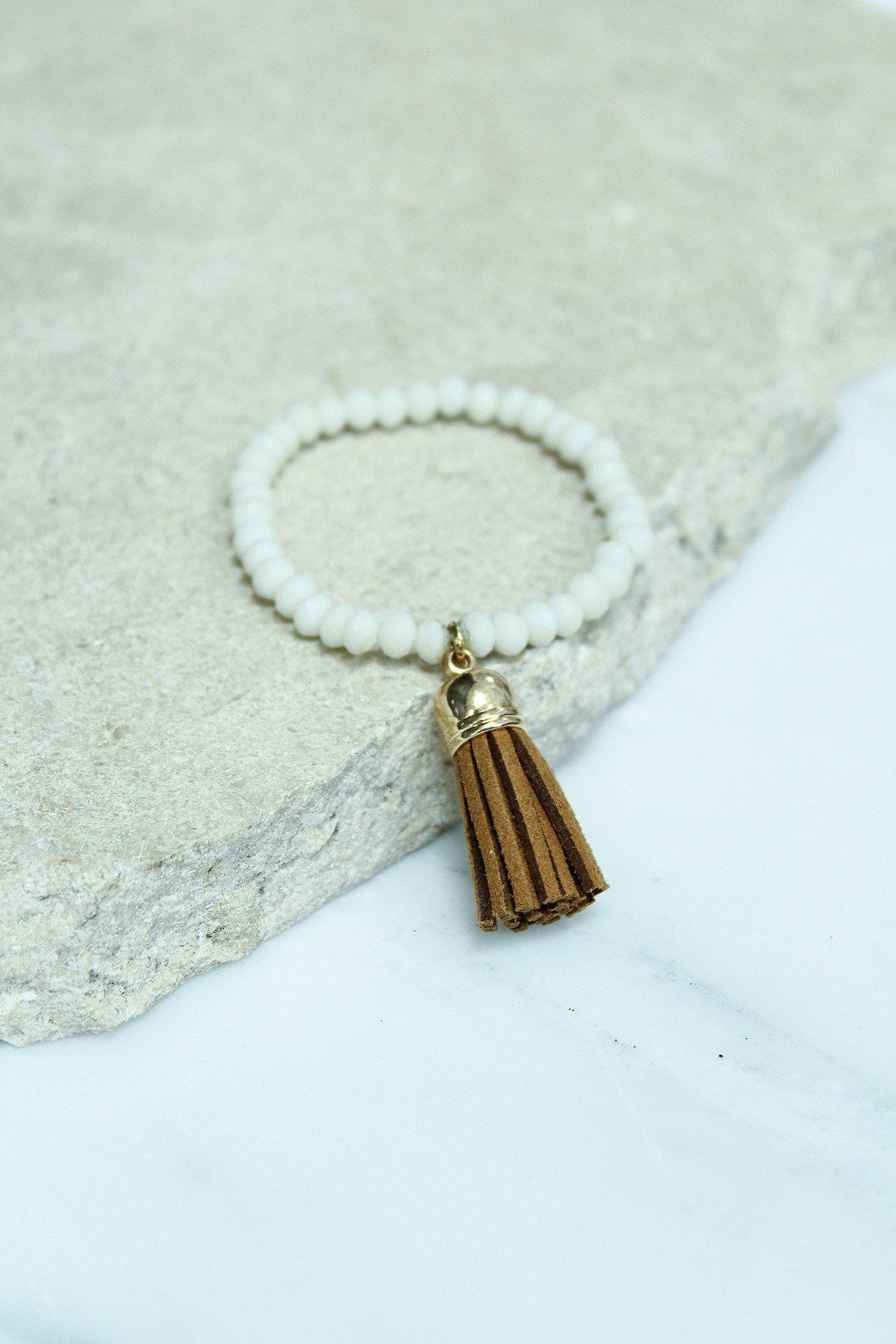 white and brown beaded tassel bracelet