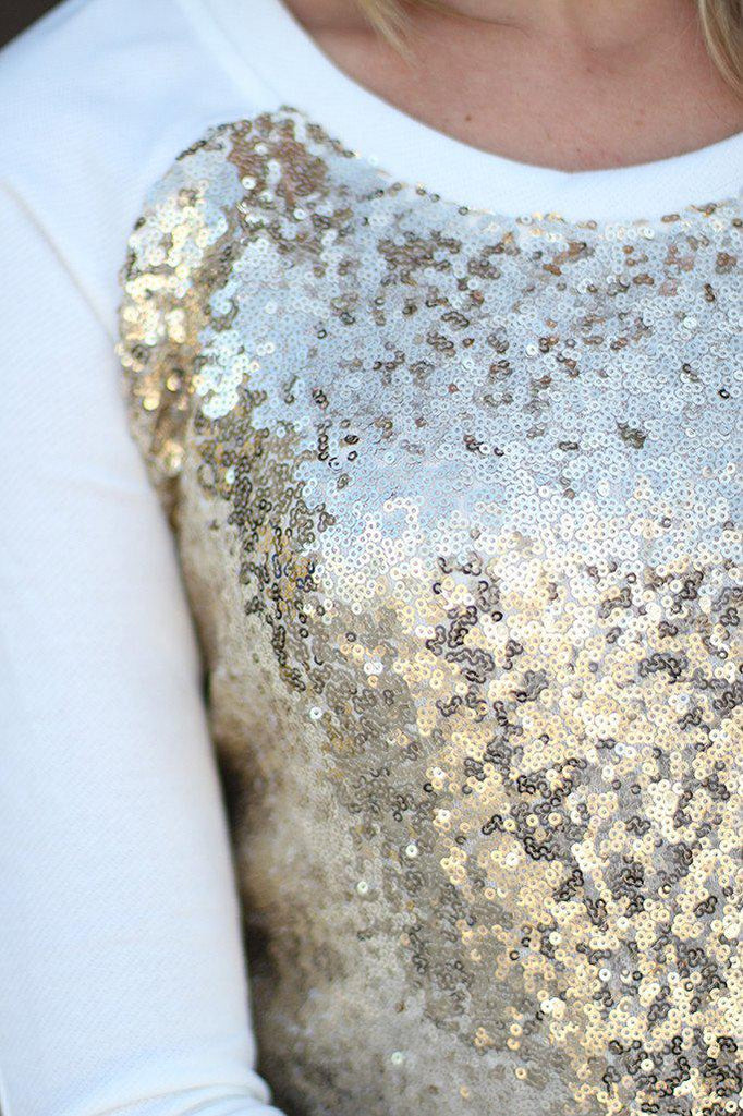 White And Gold Sequin Top