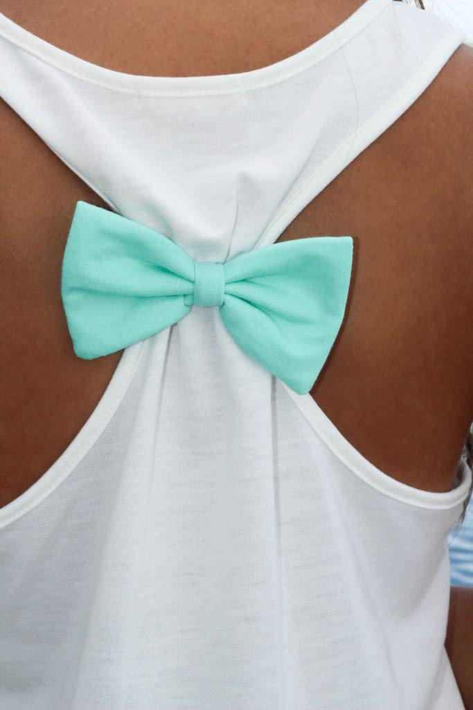 white tank top with mint bow