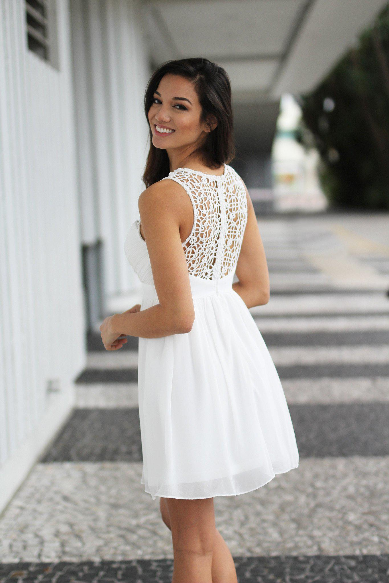 Ivory Crochet Short Dress