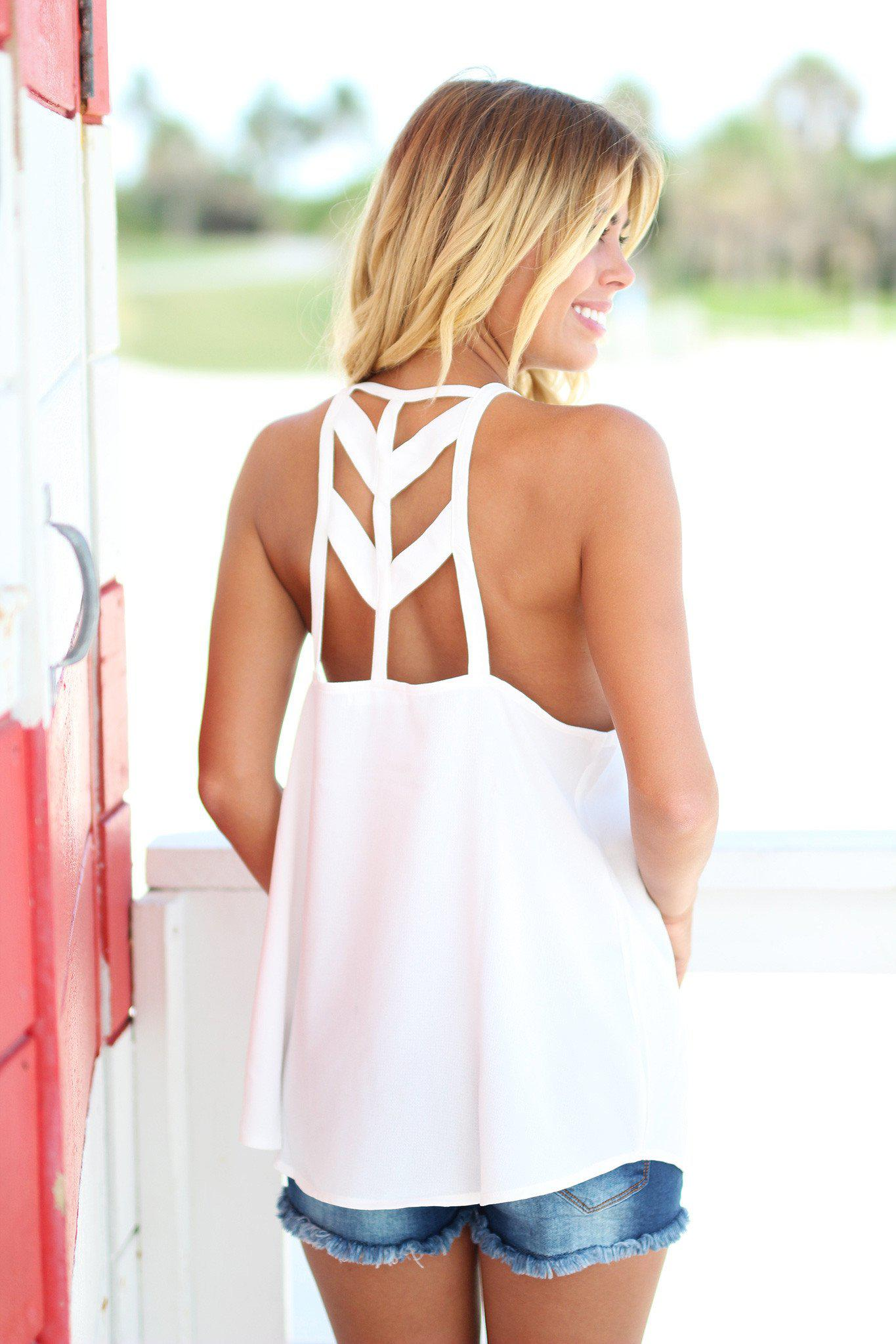 ivory cut out back top