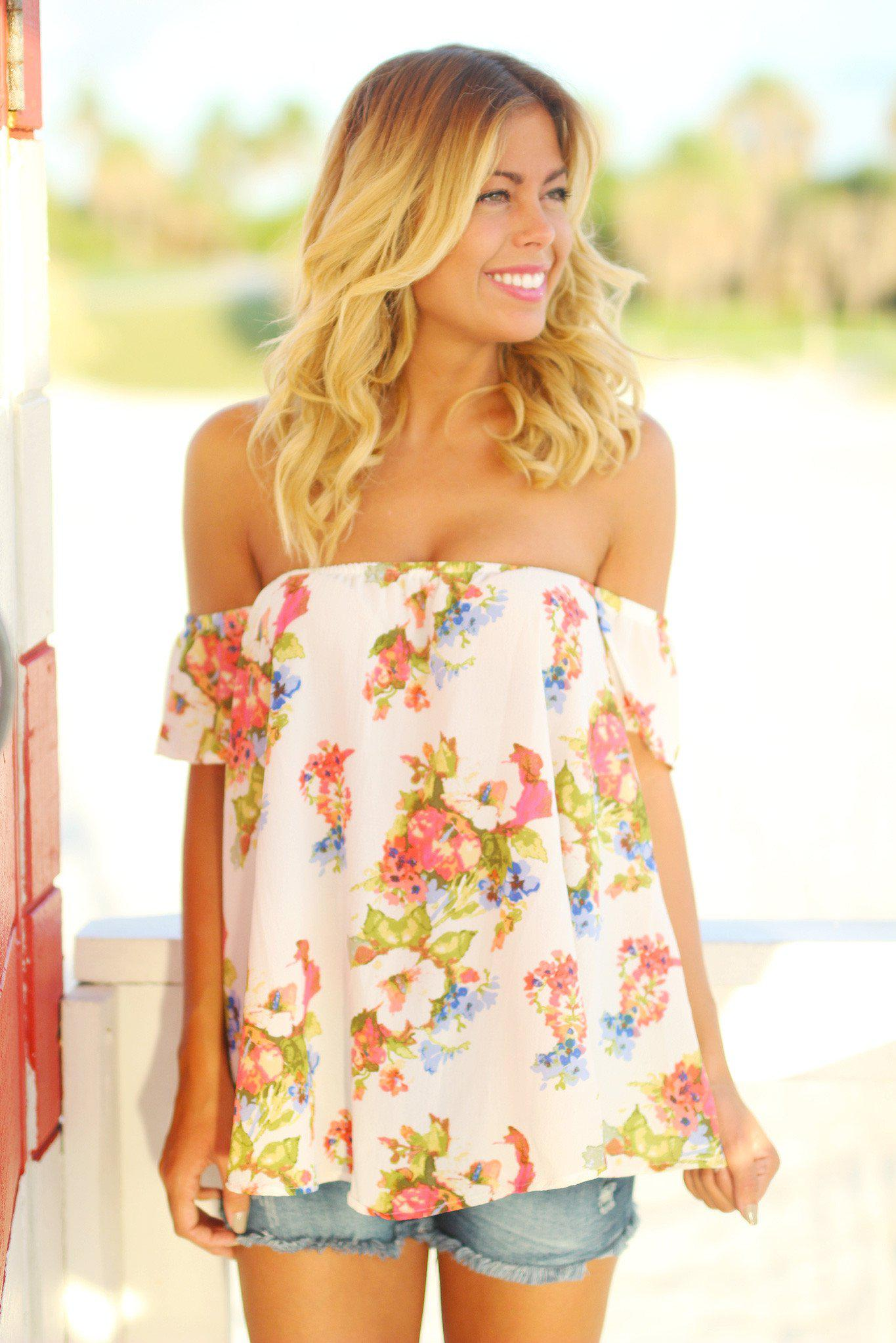 White Floral Off Shoulder Top