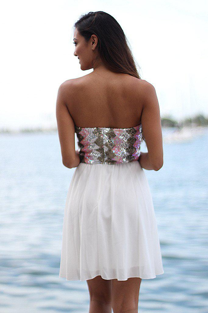 White Short Dress With Sequined Top