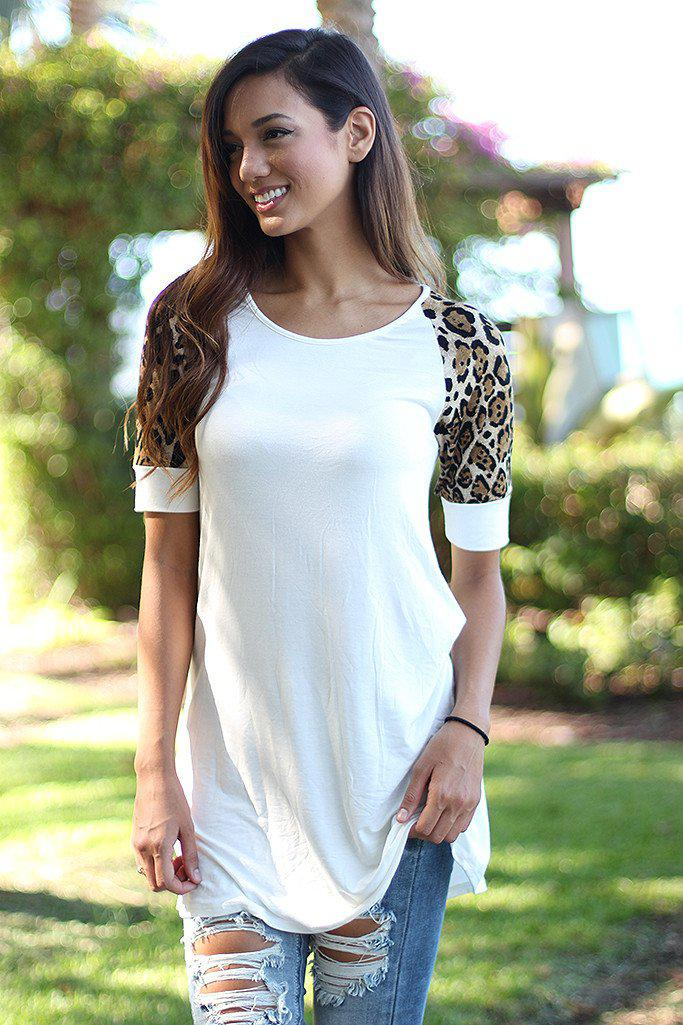 White Tunic With Leopard Sleeves