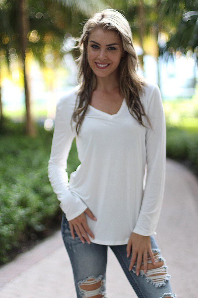 White V-Neck Top With Long Sleeves