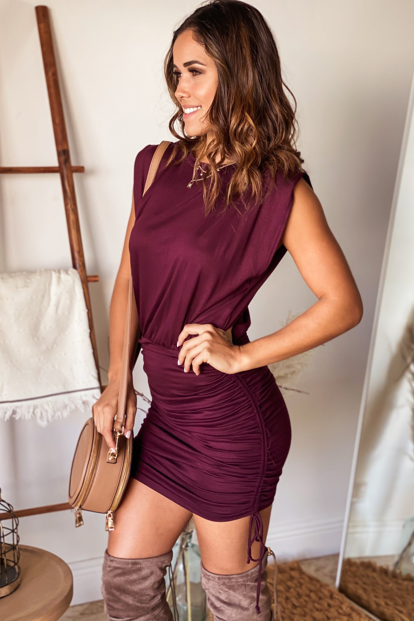 wine casual short dress