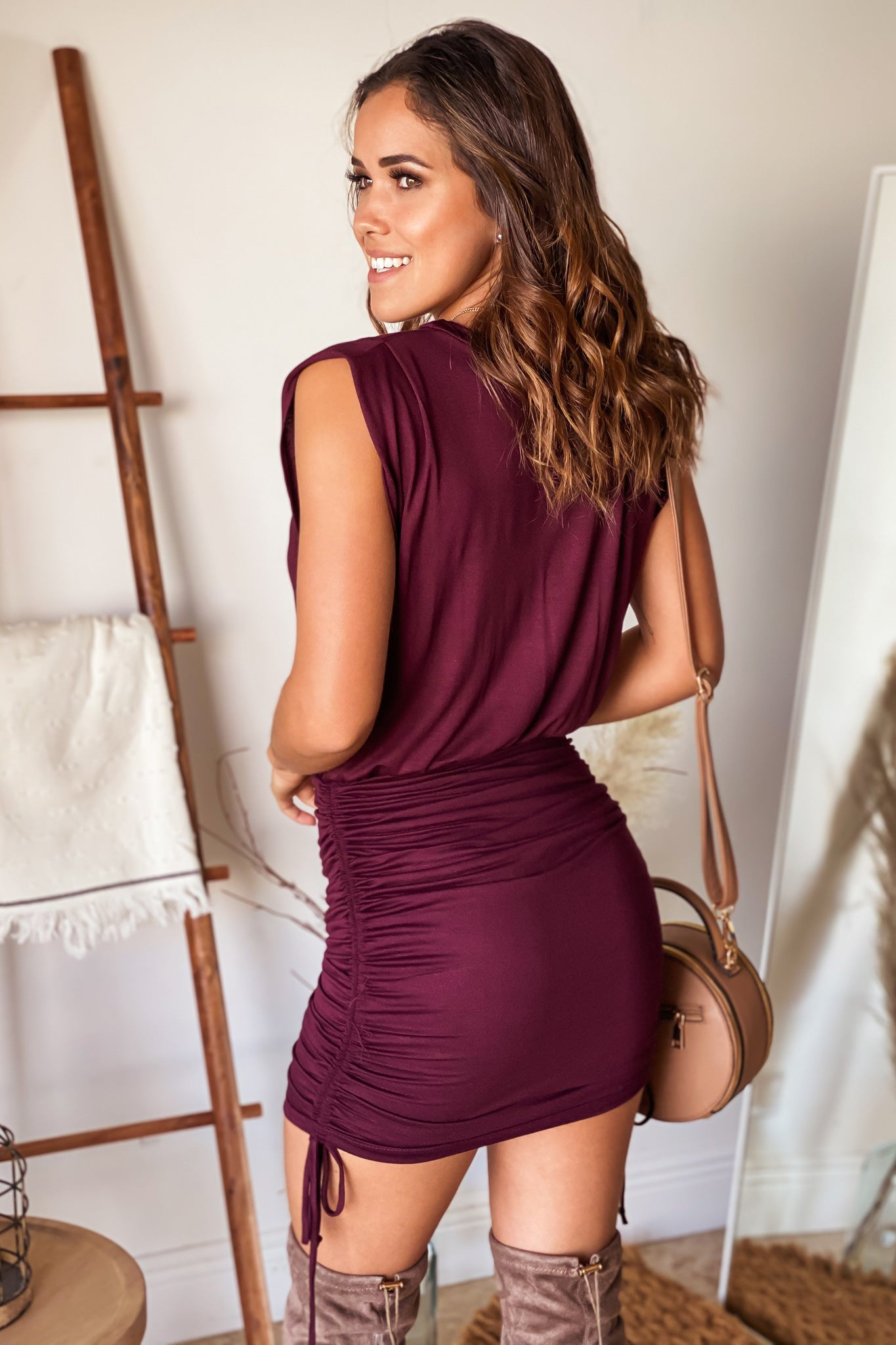 wine cute short dress