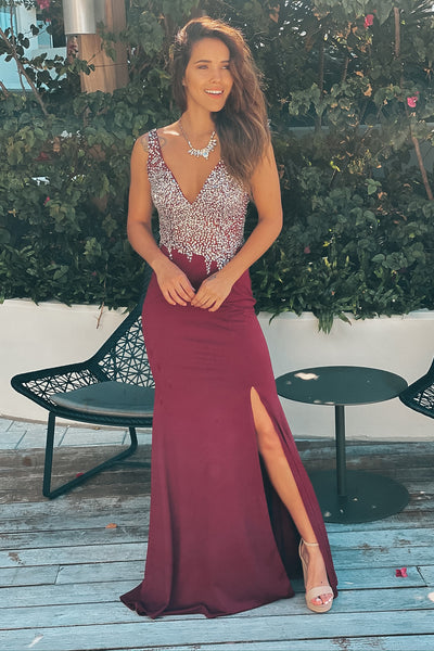 Wine Jeweled Top Maxi Dress with Open Back