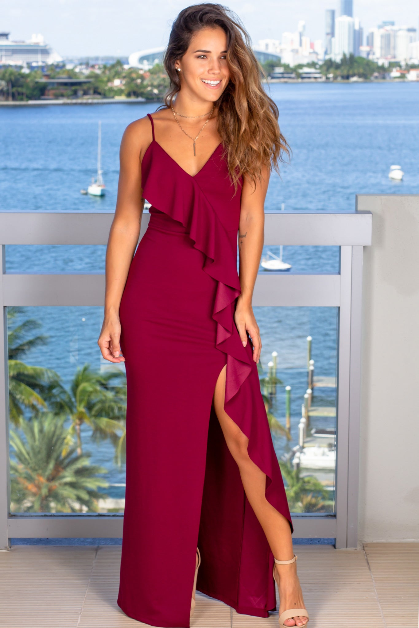 wine maxi dress with ruffle front detail