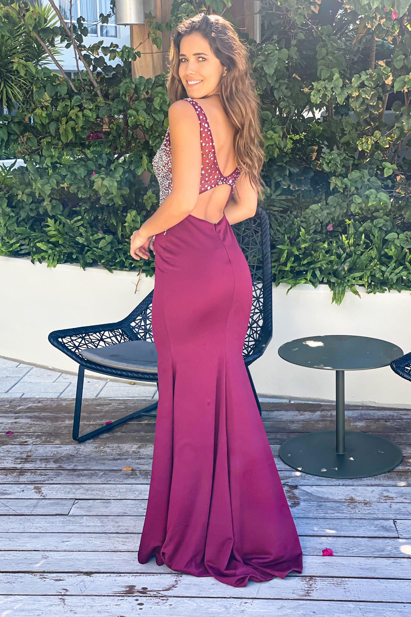 wine open back wedding dress