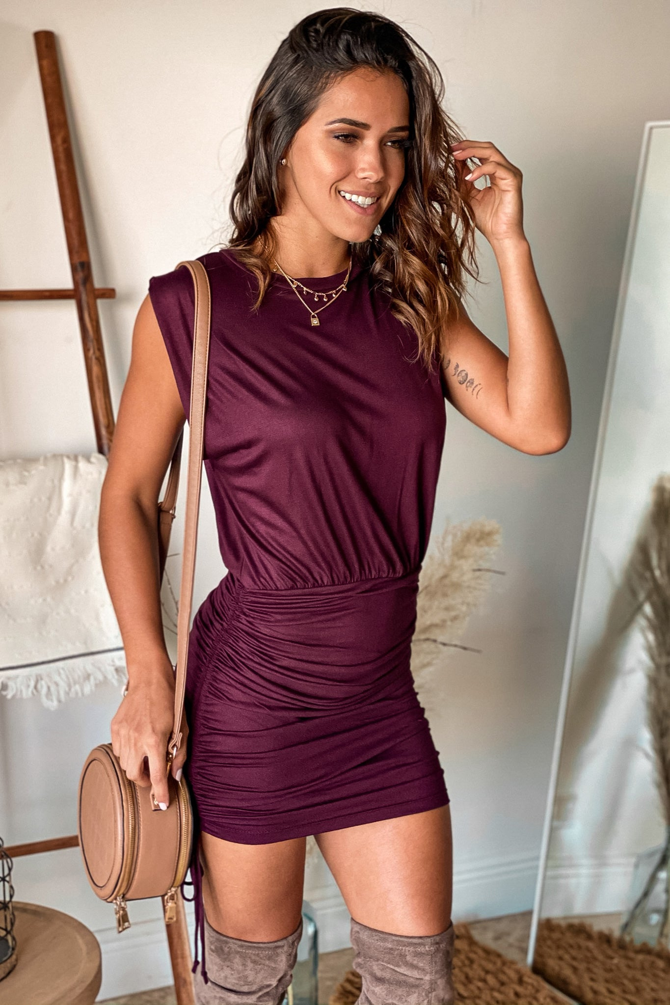 wine ruched short dress