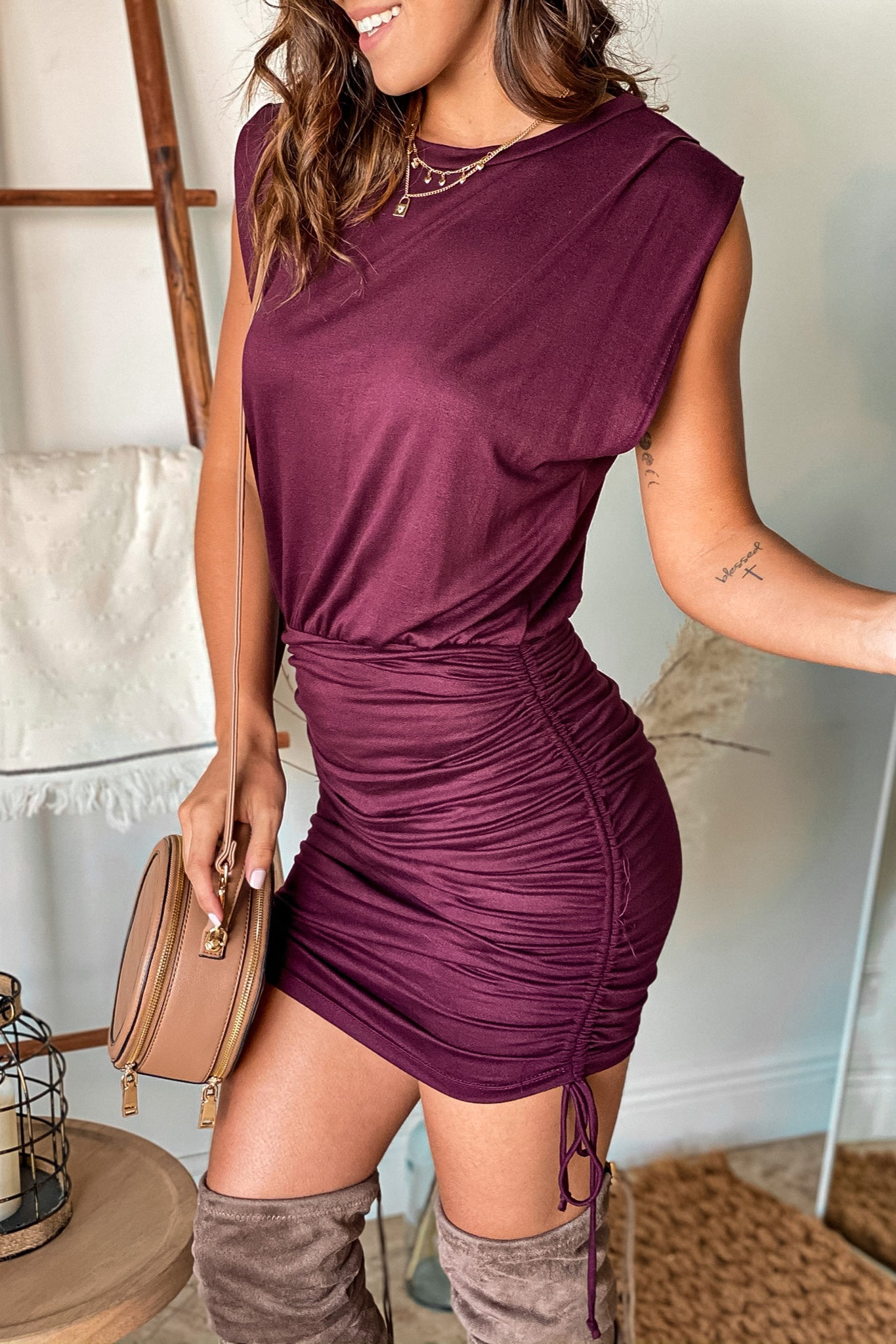 wine short dress with pull strings