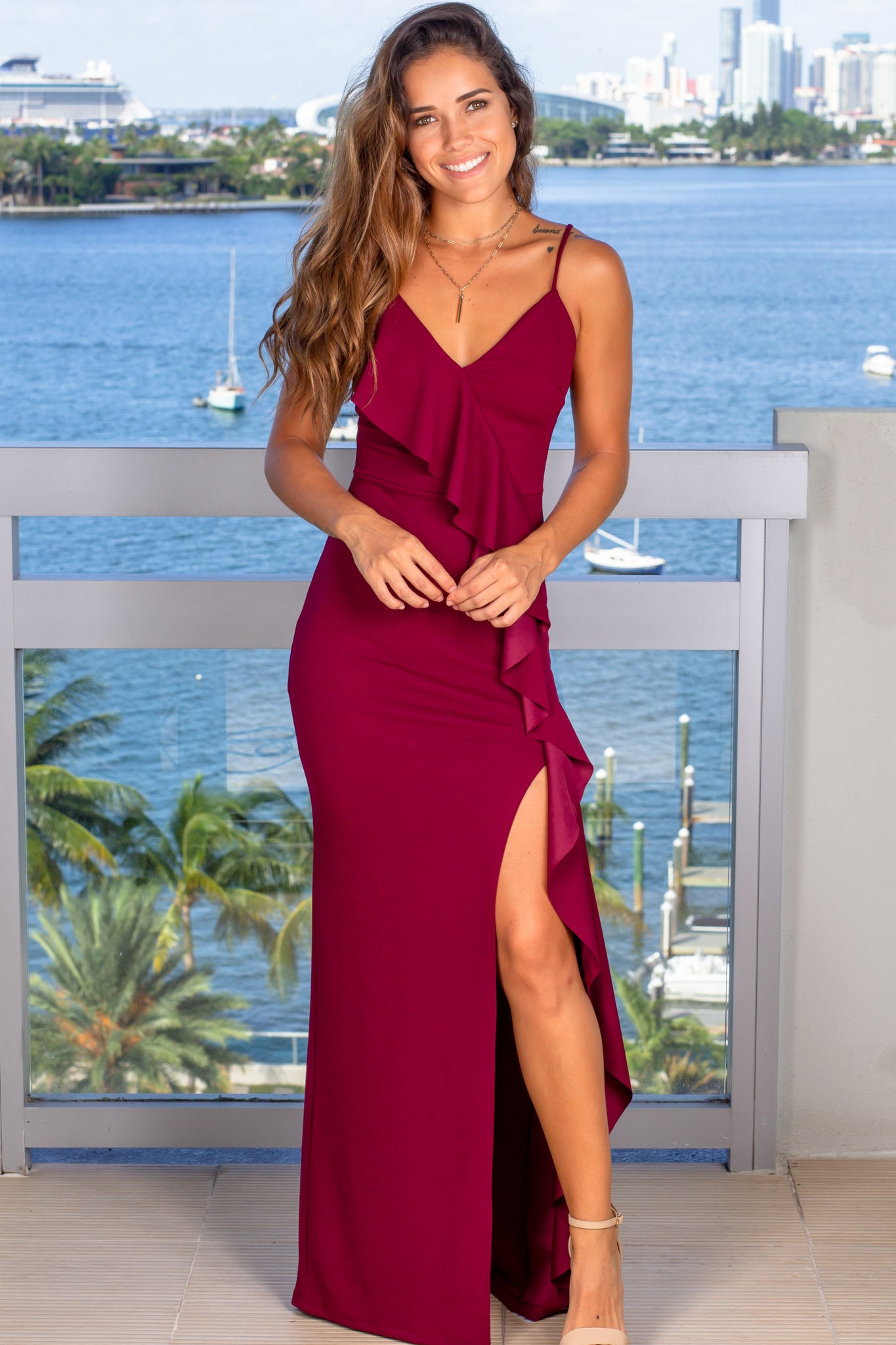 wine special occasion maxi dress