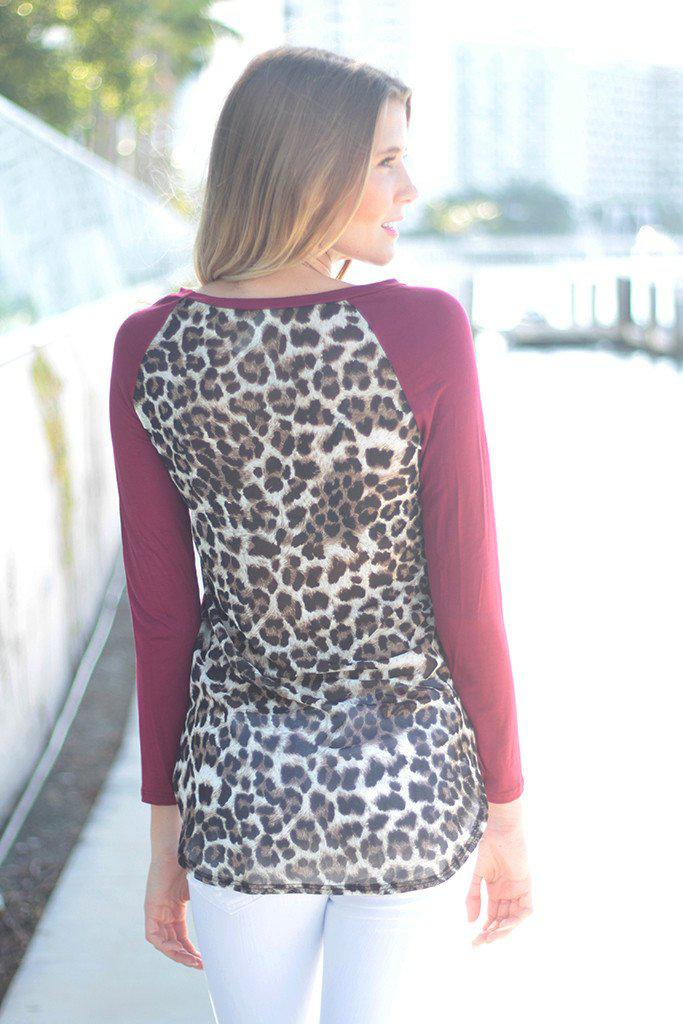 cute top with leopard back