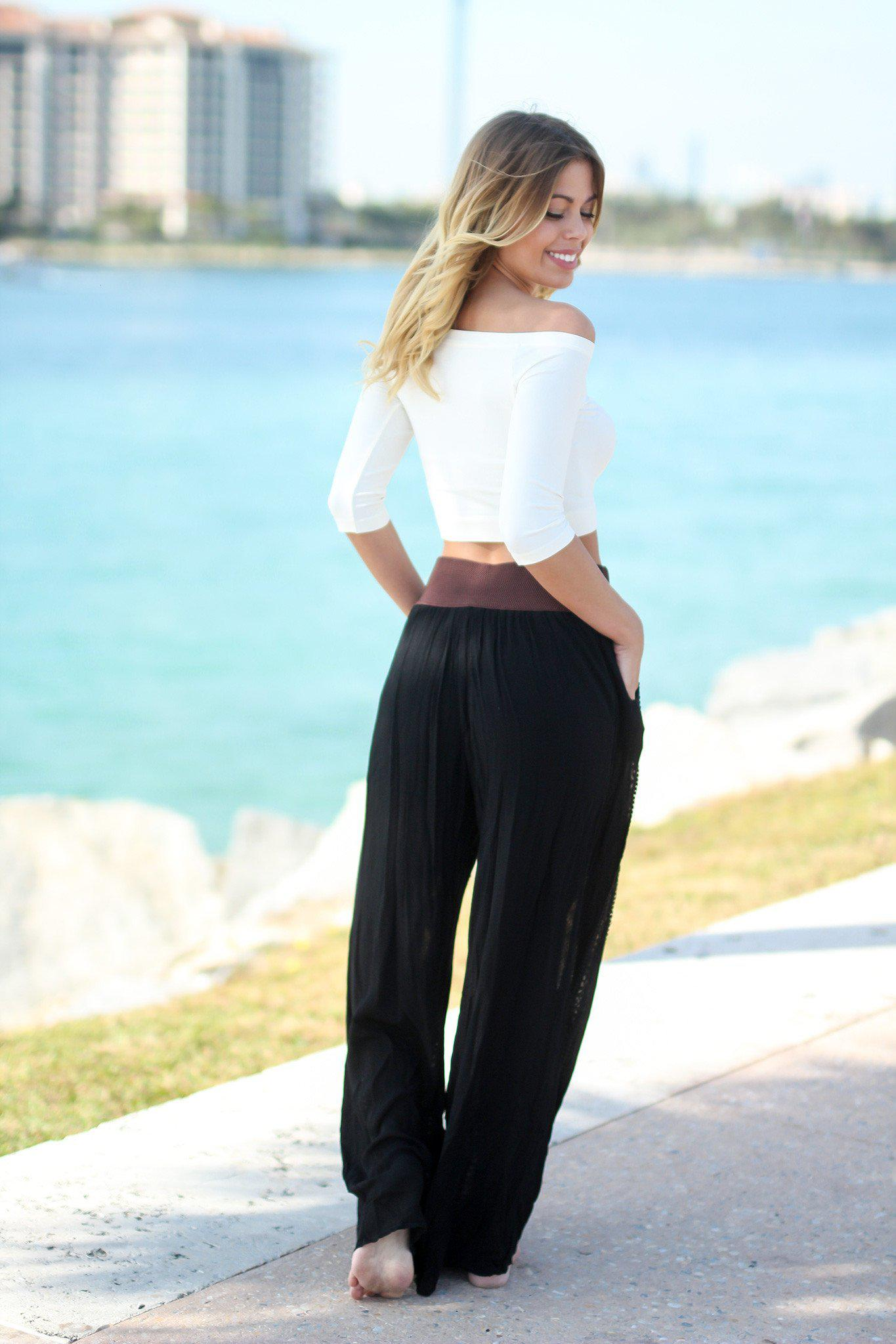 Black Bottoms with Belt and Tassels | Black Pants | Online ...