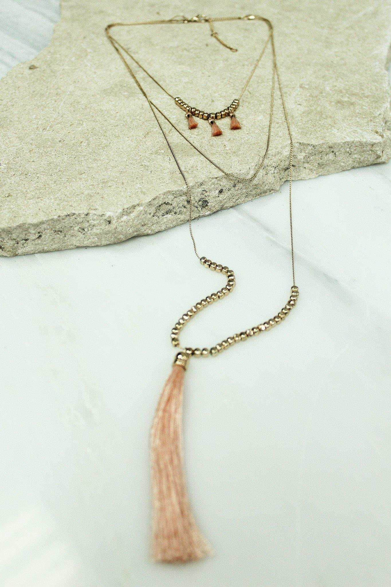 Gold Layered Peach Tassel Necklace