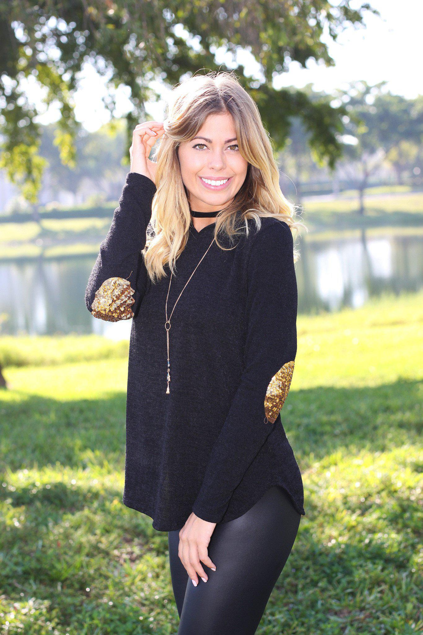 Black Knit Hoodie with Sequined Elbow Patches | Online Boutique ...