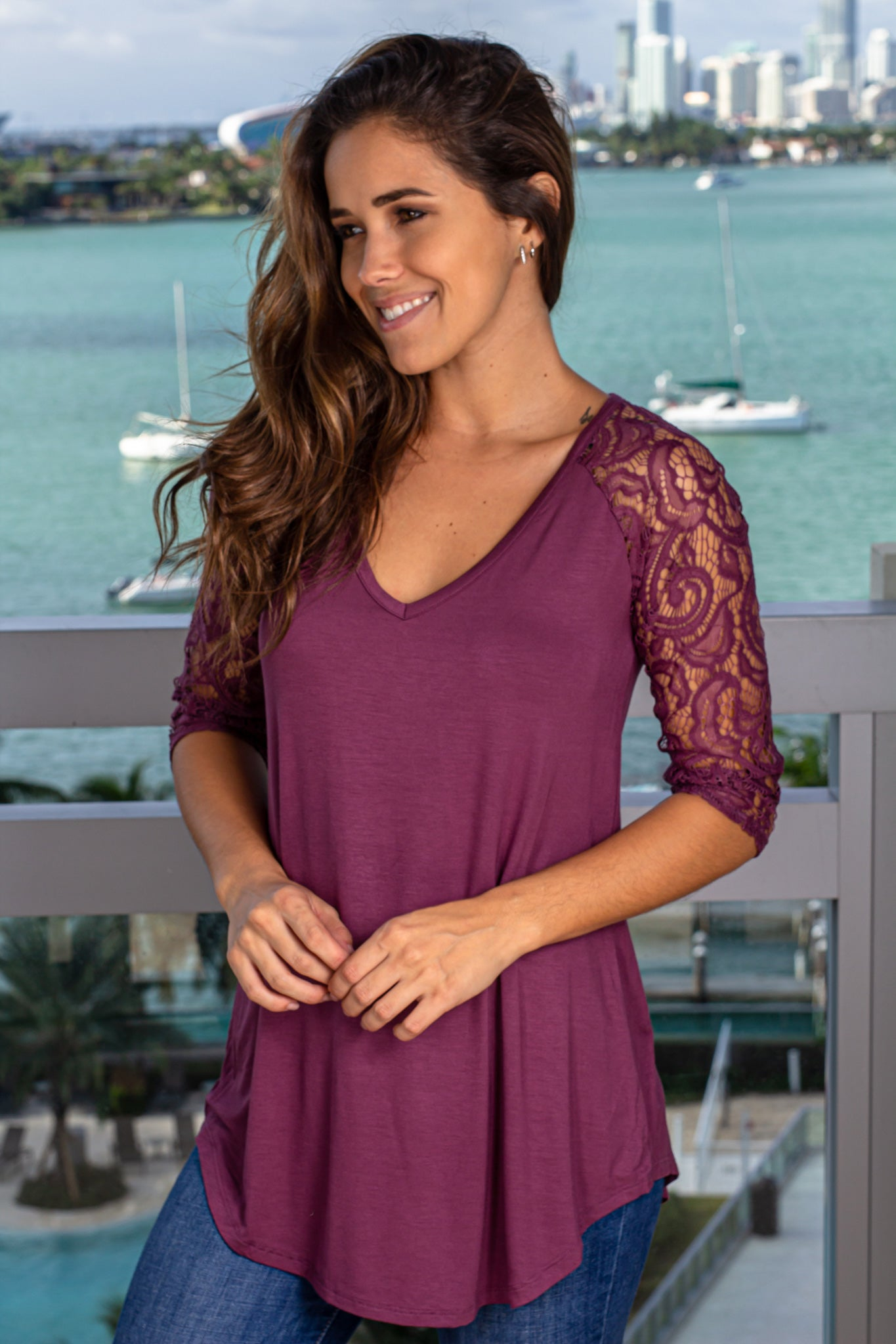 Eggplant Top with Lace