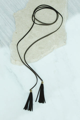 Black Wrap Around Necklace with Tassels and Studs