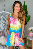 yellow and pink tie dye romper