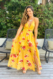 yellow floral maxi dress with cut outs