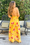 yellow floral party dress